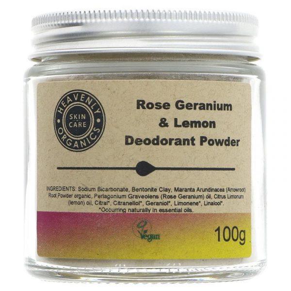 Heavenly Organics Skin Care Rose & Lemon Deodorant Powder