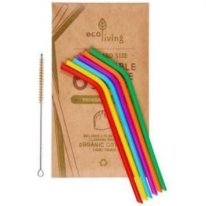 Silicone Straws and cleaning Brush x 6 SALE